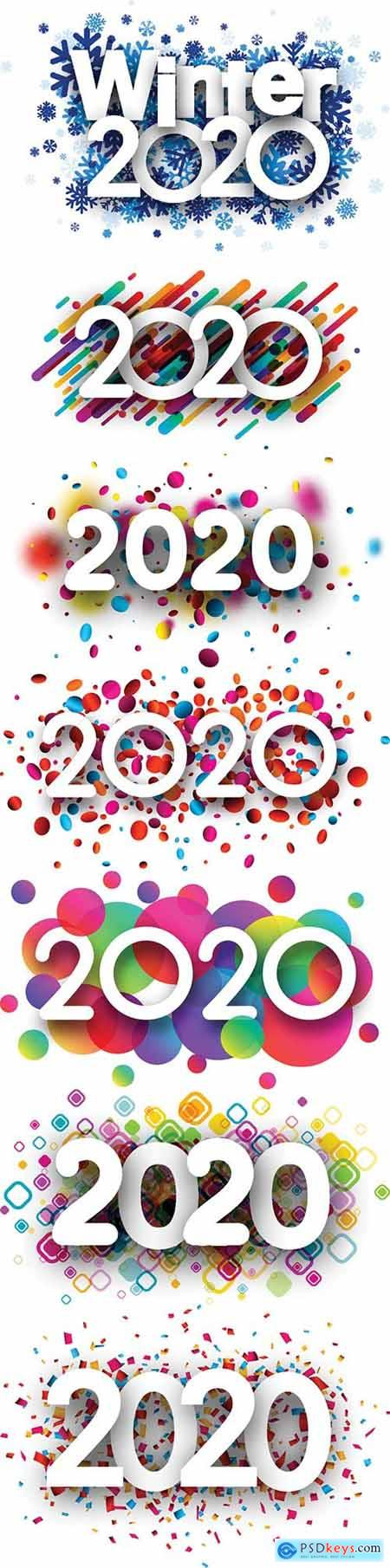 2020 new year sign with colorful round confetti on white