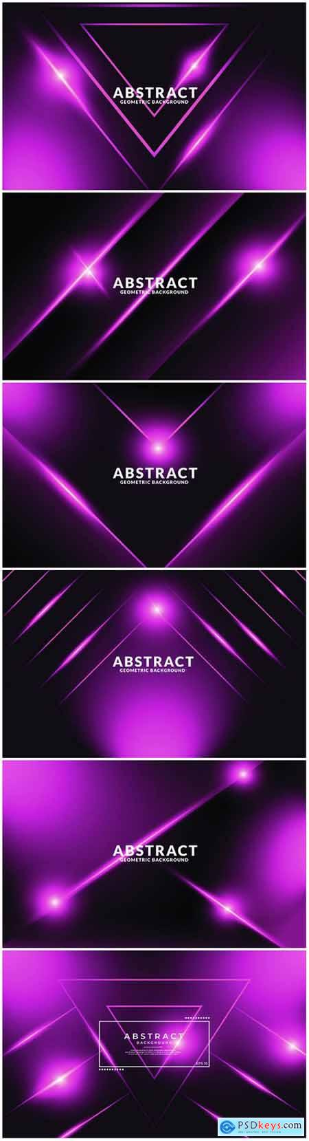 Dark purple realistic abstract geometric background, neon light effect