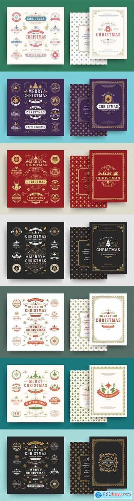Christmas labels and badges vector design elements set with