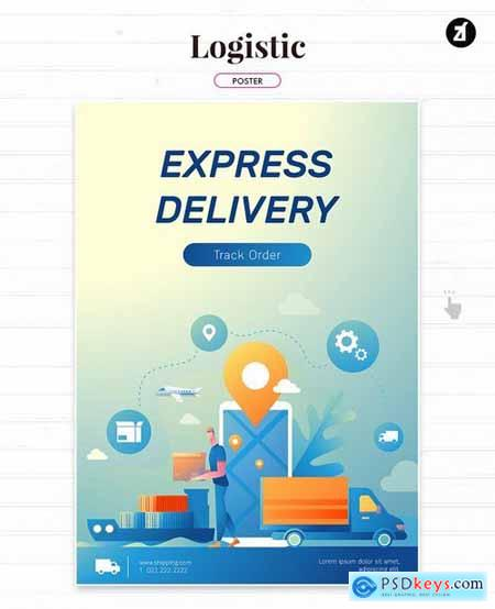 Logistic and delivery illustration with layout
