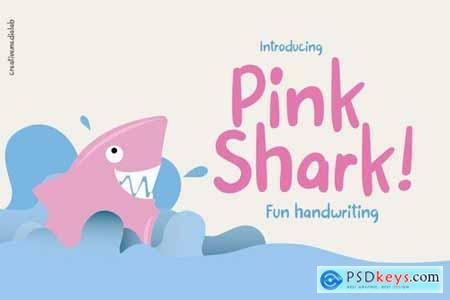 Pink Shark - Fun handwritten