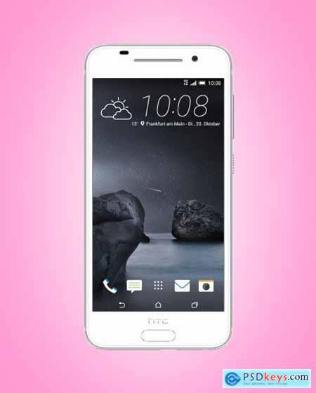 Opal Silver HTC A9 Phone Mockup 50457