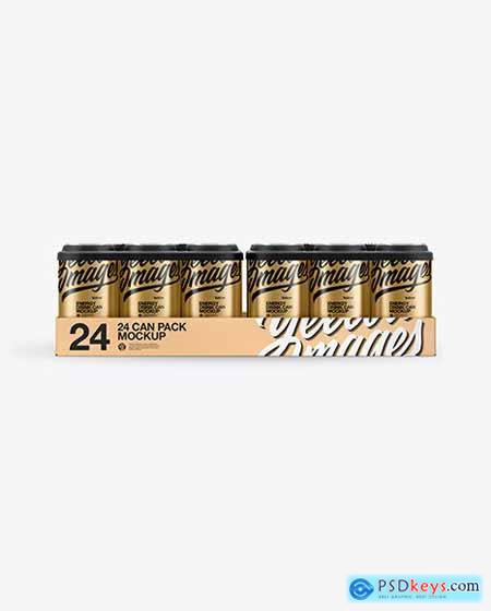 Pack with 24 Matte Metallic Cans Mockup 50454