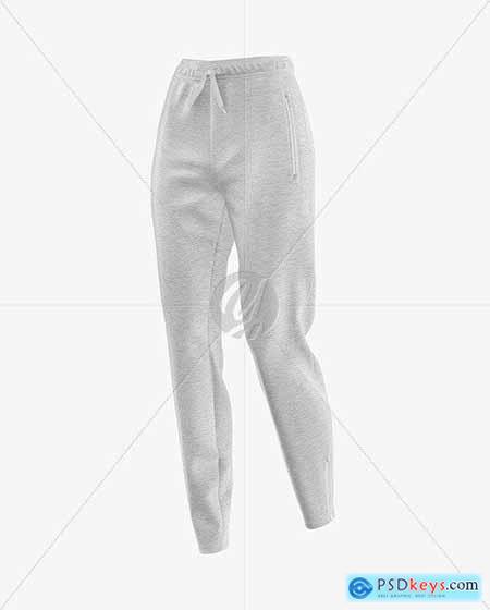 Women's Melange Pants Mockup - Front Half 50430