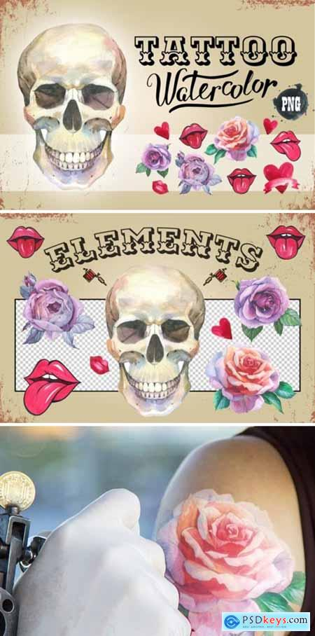 Tattoo Watercolor Set Skull 1881597