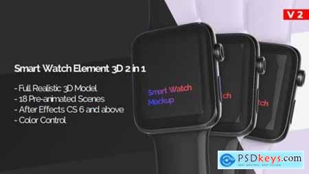 Videohive Smart Watch 3D Model Mockup App Promo V.2 23385934