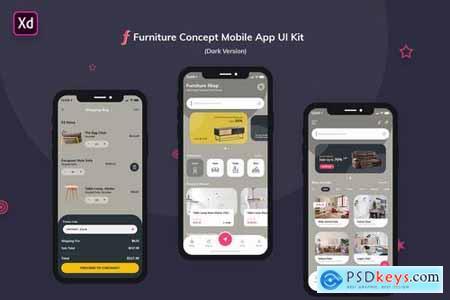 Furniture App UI Kit Dark Version (Adobe XD)