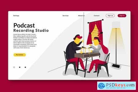 Podcast Recording - Web Header & Vector