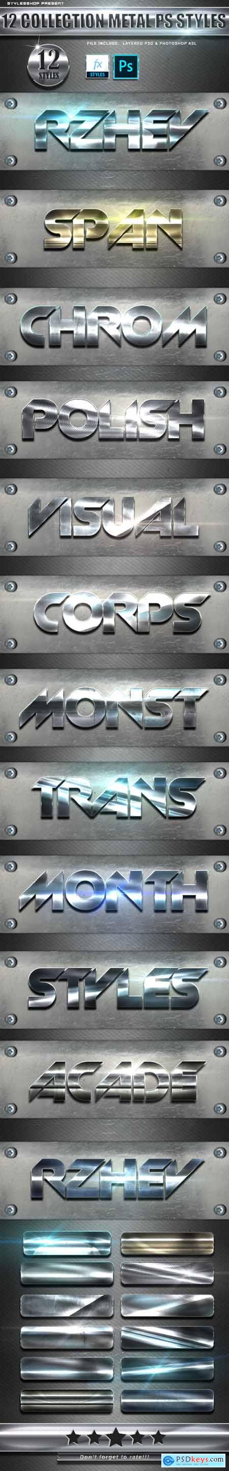 12 Collection Metal Photoshop Text Styles Vol 3 24783635