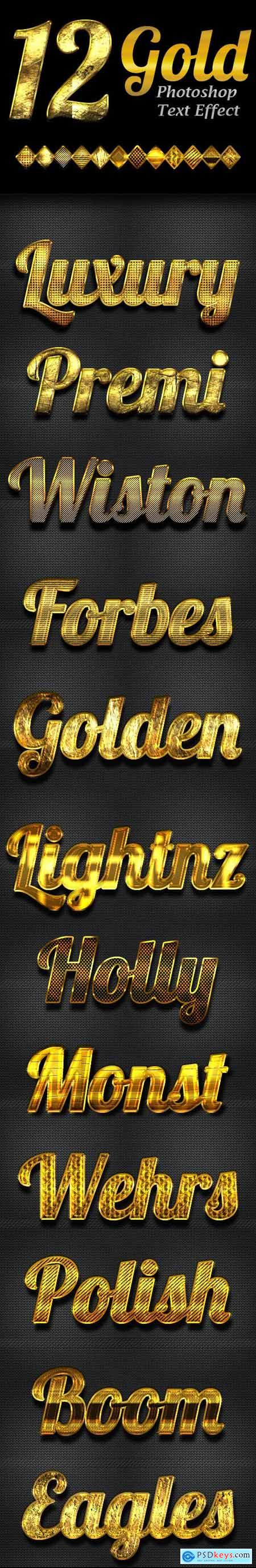 12 Gold Photoshop Text Effect Styles 23142842