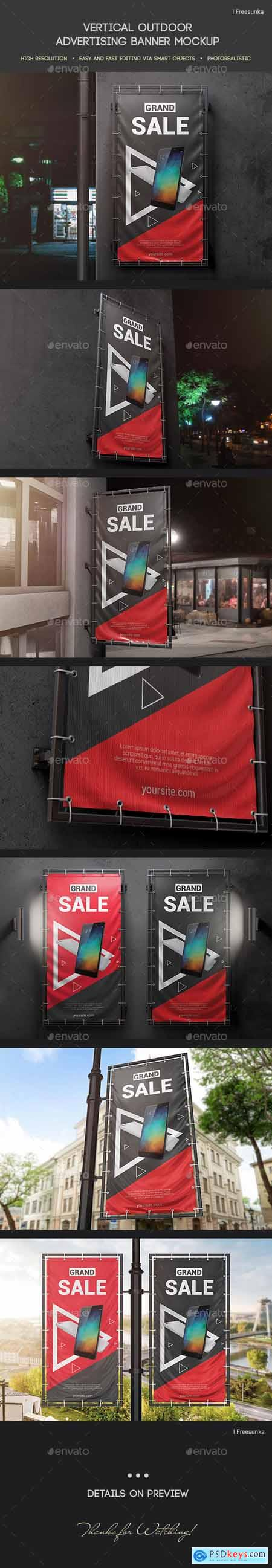 Vertical Outdoor Advertising Banner Mockup 24844153