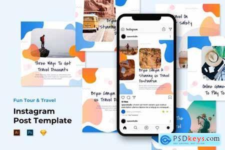 Instagram Post Templates - Travel Liquid Design