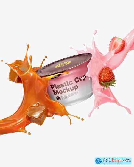 Plastic Cup with Splashes Mockup 50515