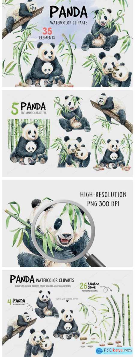 Panda Watercolor Animal Clip Art 1916155