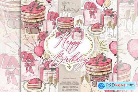 Birthday Girl Clipart and digital paper pack