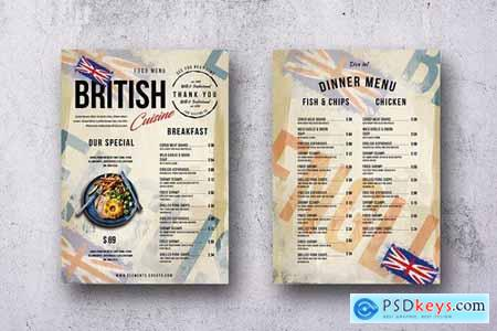 British Cuisine Single Page Menu