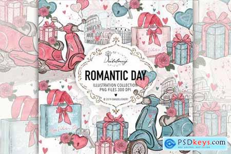 Romantic Day digital paper pack design