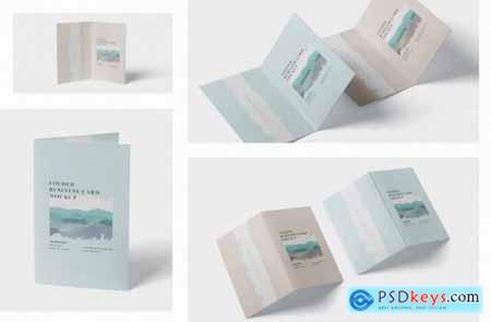 Folded Business Card Mockup - Horizontal Orientati