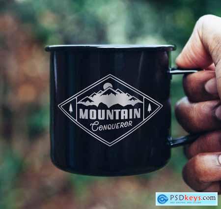 Mountain Logo Design, Retro Badge, Adventure Quote