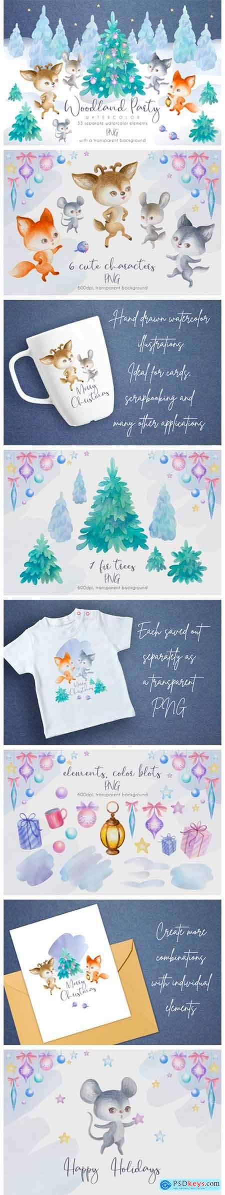 Woodland Party. Watercolor Christmas Set 1953714