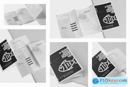 Z-Fold Brochure Mockup - Din A4 A5 A6 Size