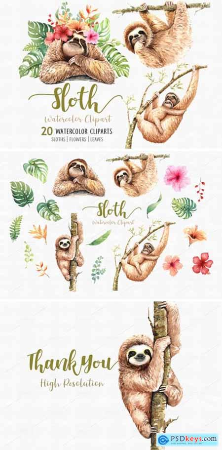 Sloth. Animals Watercolor Clip Art 1949440