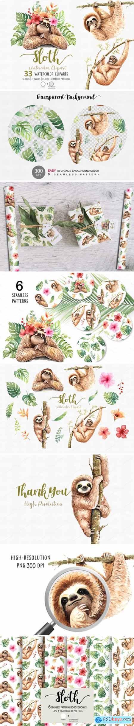 Sloth. Animals Watercolor Cliparts. 1949433