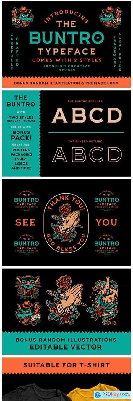 The Buntro Font + Bonus Logo