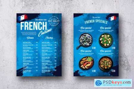 French Cuisine Single Page A4 & US Letter Menu