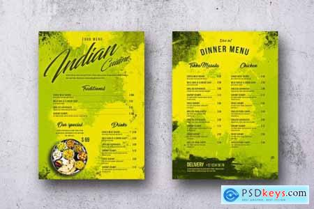 Indian Cuisine Single Page A4 & US Letter Menu