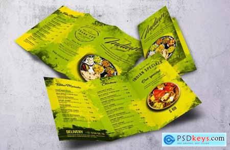 Indian Cuisine Trifold A4 & US Letter Food Menu