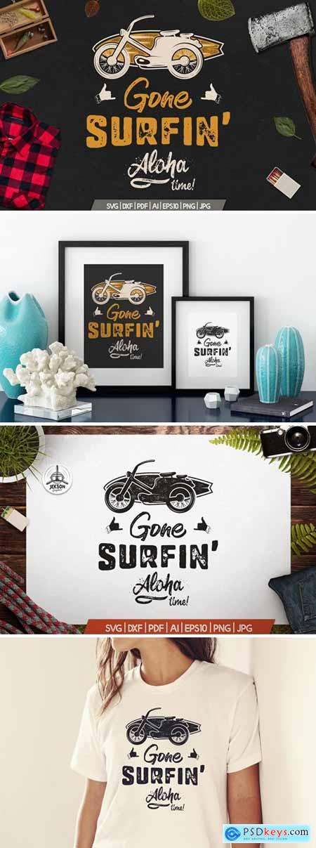 Surfing Retro Graphics Prints TShirt, Summer Badge