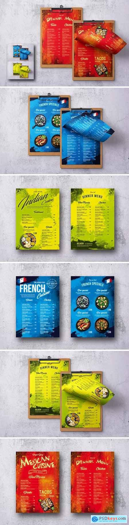 Different Countries Single Page Food Menu Bundle