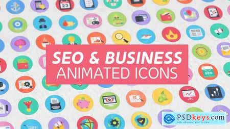 Videohive 100 Seo & Business Modern Flat Animated Icons 15948640