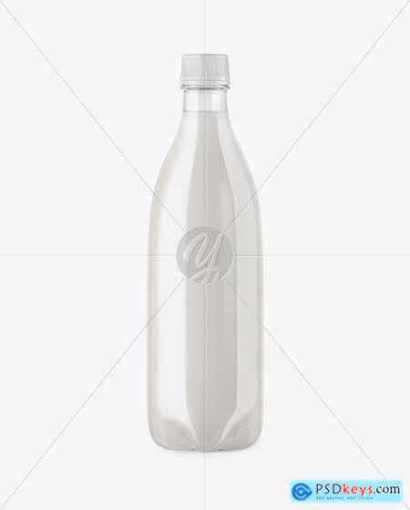 Clear PET Bottle with Milk Mockup 50874