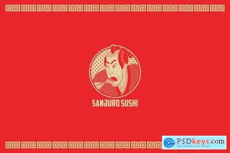 Sanjuro Sushi Logo Template