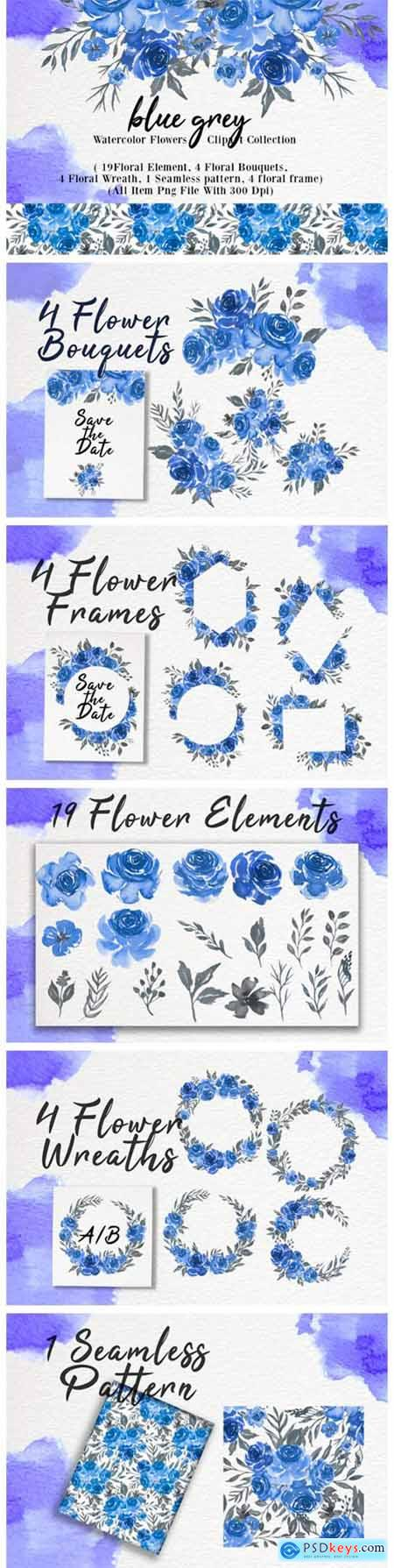 Blue Grey Watercolor Flower Clip-art 1966417