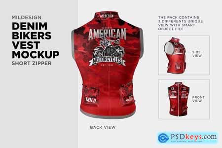 Denim Bikers Vest Mockup 3969189
