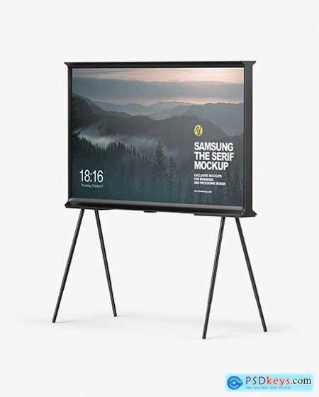 Samsung The Serif TV Mockup - Half Side View 50871