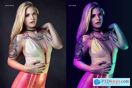 Dual lighting Gel Photoshop Action 2775673