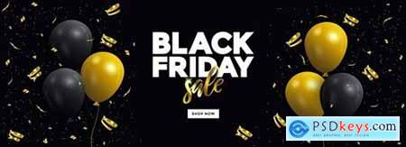 Black Friday sale banner with glossy Balloons