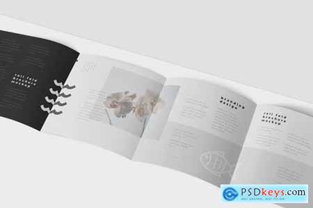 Roll-Fold Brochure Mockup Set - Square Format
