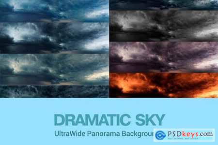 Ultra Wide Set of Dramatic Sky Backgrounds
