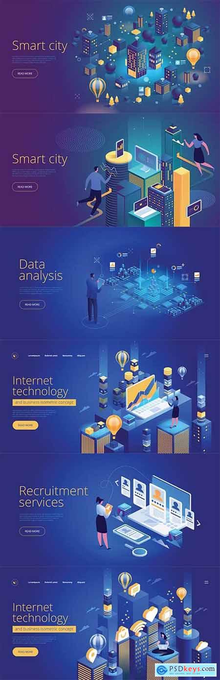 Internet technology and smart city isometric vector 3D concept
