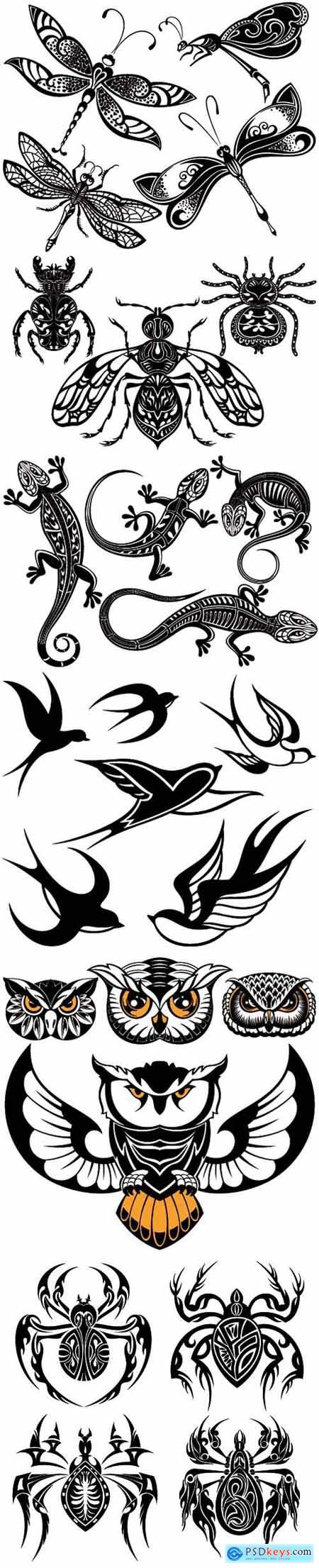 Vector tattoos- insects, birds and animals
