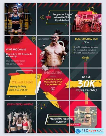 Fitness and Gym - Instagram Puzzle Banners