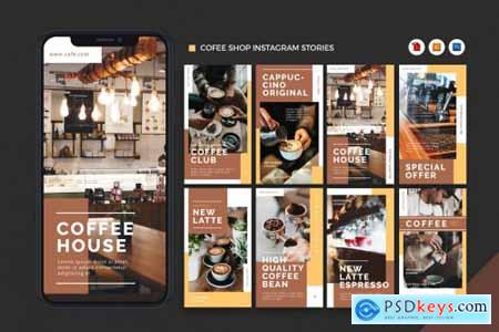 Coffee Shop Instagram Stories AI and PSD