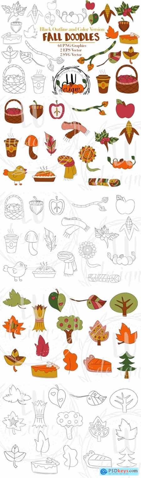 Fall Doodles Clipart, Autumn Graphics 1983633