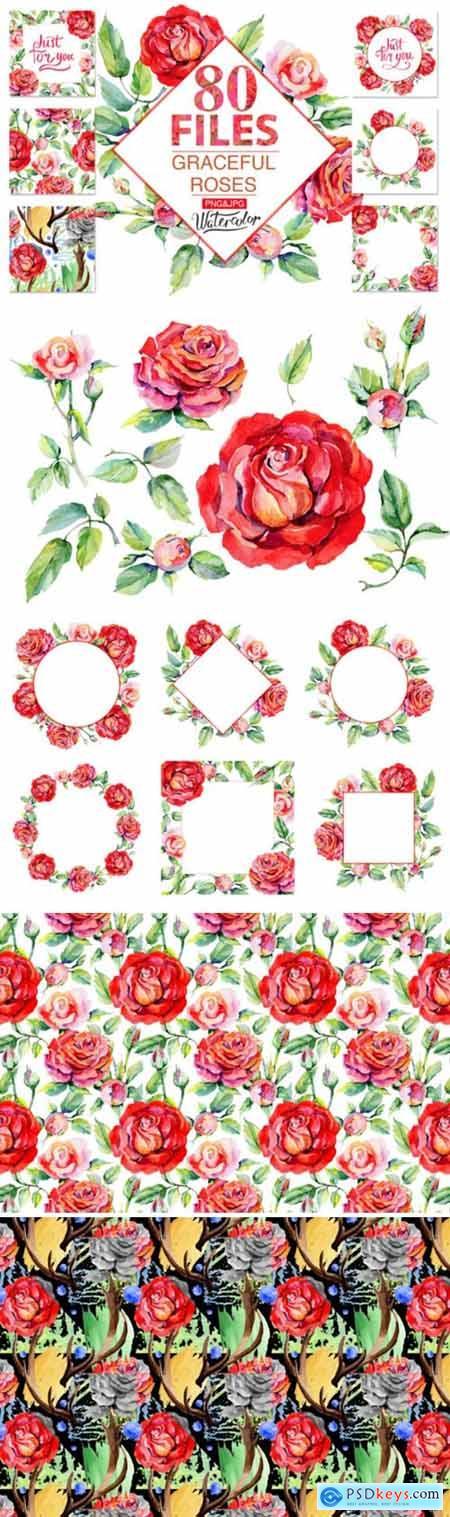 Roses Red PNG Watercolor 1980573