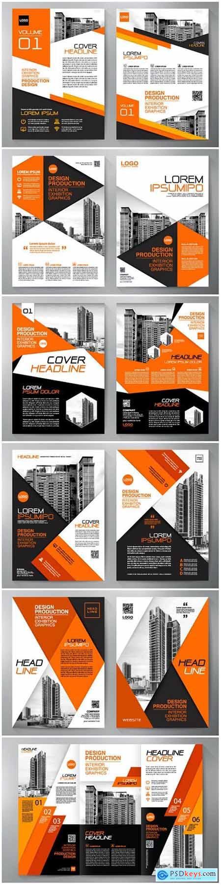 Business brochure flyer design, leaflets a4 template